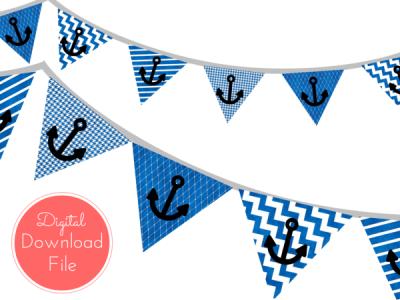 Printable instant download banners buntings magical printable pennant blue watercolor nautical banner ahoy pennant garland maxwellsz