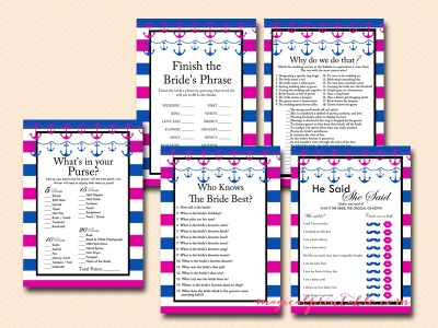 hot pink and navy blue nautical bridal shower game package instant download bs91