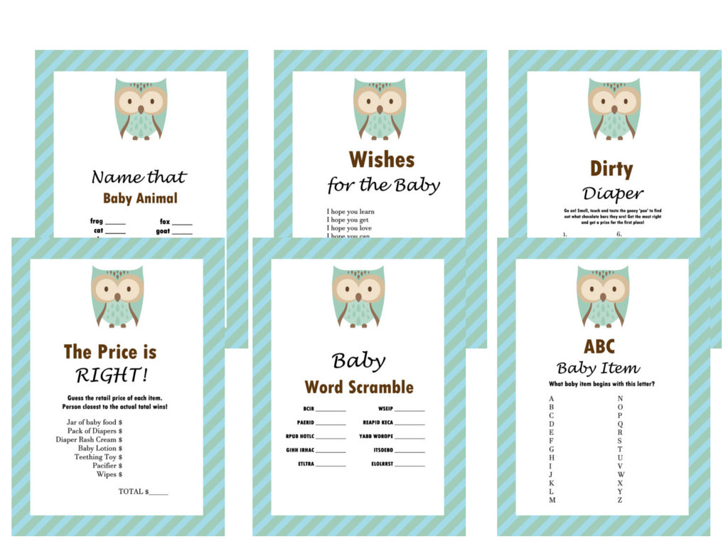 Owl Baby Shower Games Set