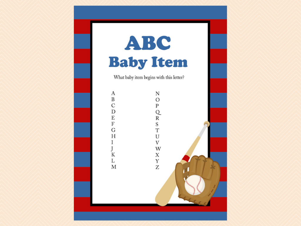 Navy Baseball Baby Shower Game Package