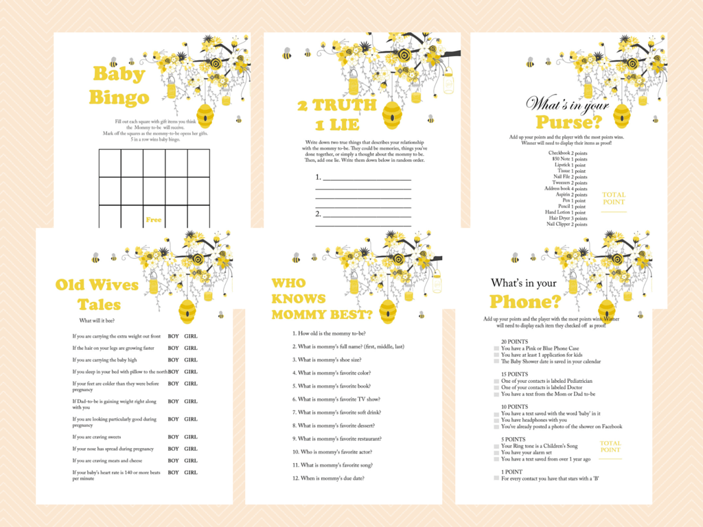 Bee Themed Baby Shower Games - Magical Printable