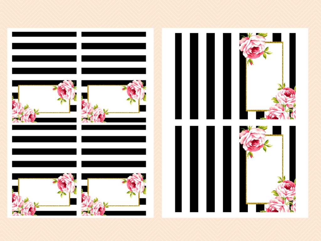 EDITABLE Black and White Floral Food Labels - Magical ...