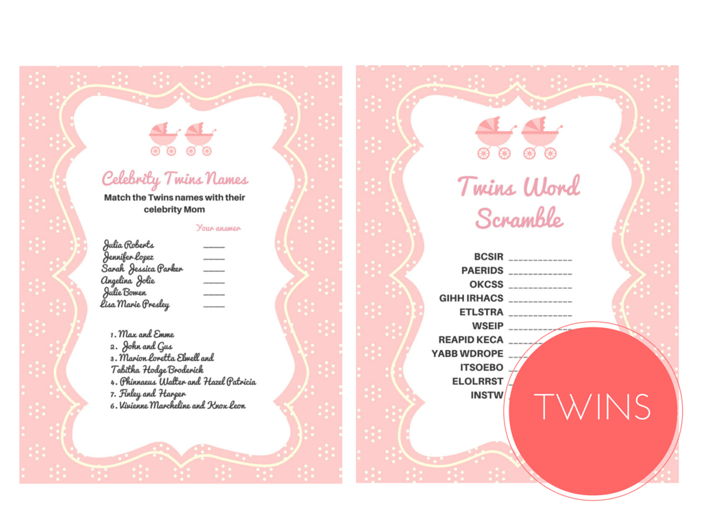 Twin Girls Baby Shower Games