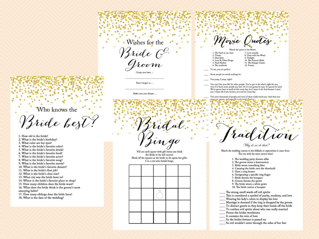 Gold confetti bridal shower game mega pack magical printable for Templates for bridal shower games