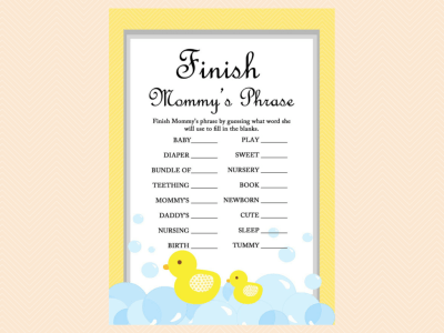 Yellow Rubber Duck Baby Shower Games Magical Printable