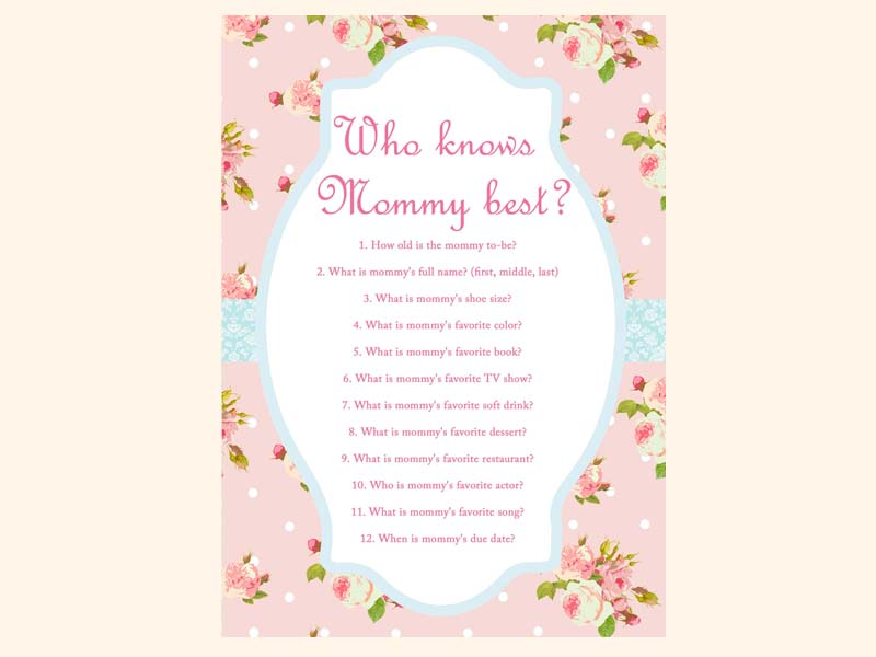 Pink Shabby Chic Baby Shower Games Magical Printable