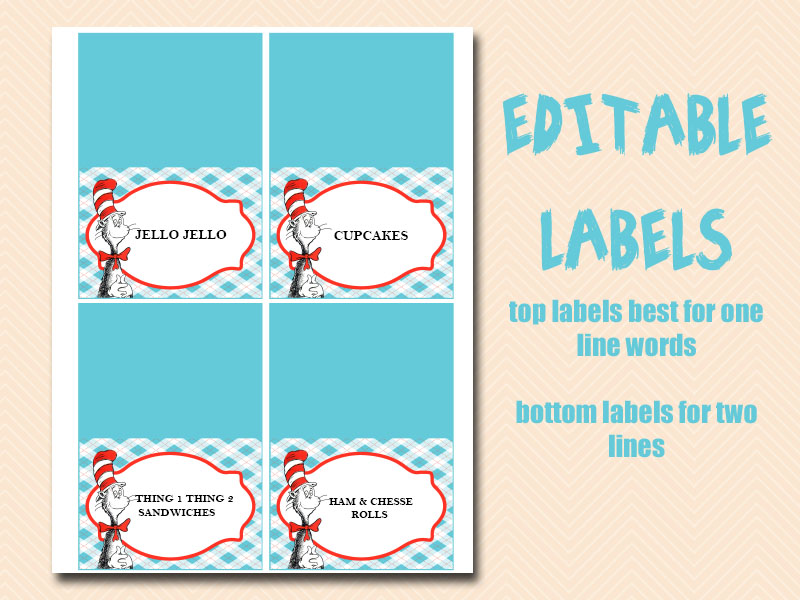 Cat In The Hat Food Label Cards