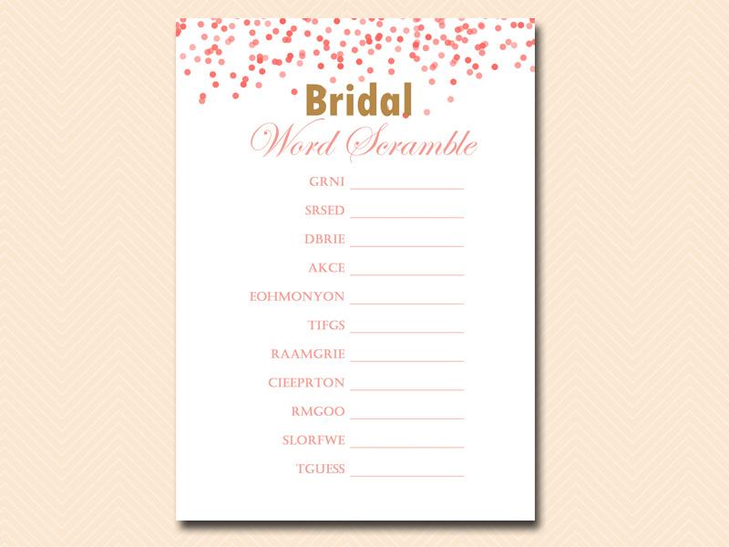 Red Peach Confetti Bridal Shower Games Magical Printable
