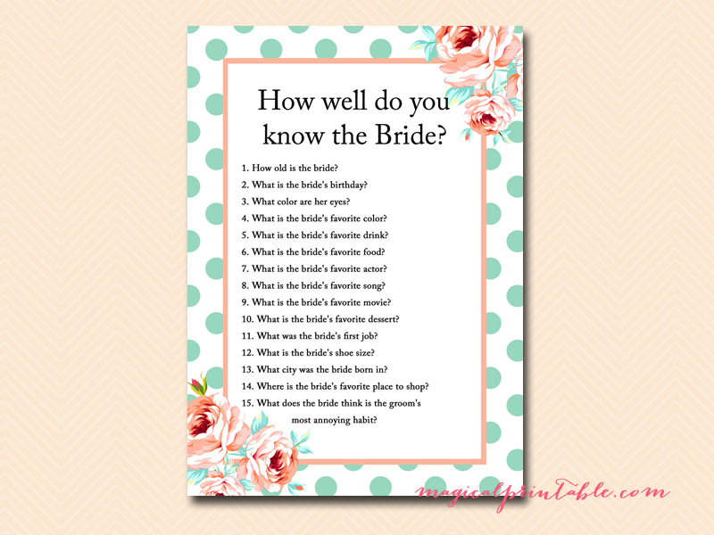 How Well Do You Know The Bride: Mint And Peach Bridal Shower Games