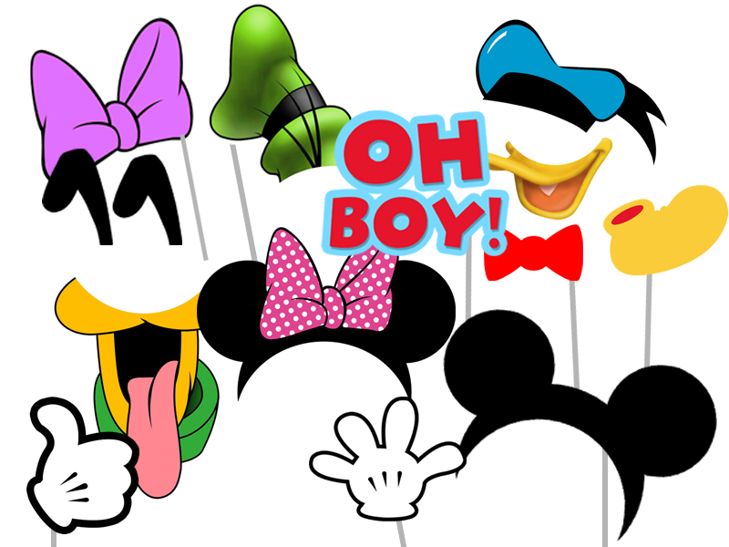 image regarding Minnie Mouse Photo Booth Props Printable identified as Mickey Mouse Buddies Birthday - Magical Printable