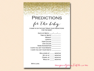 Printable Gold Glitter Baby Shower Game Pack