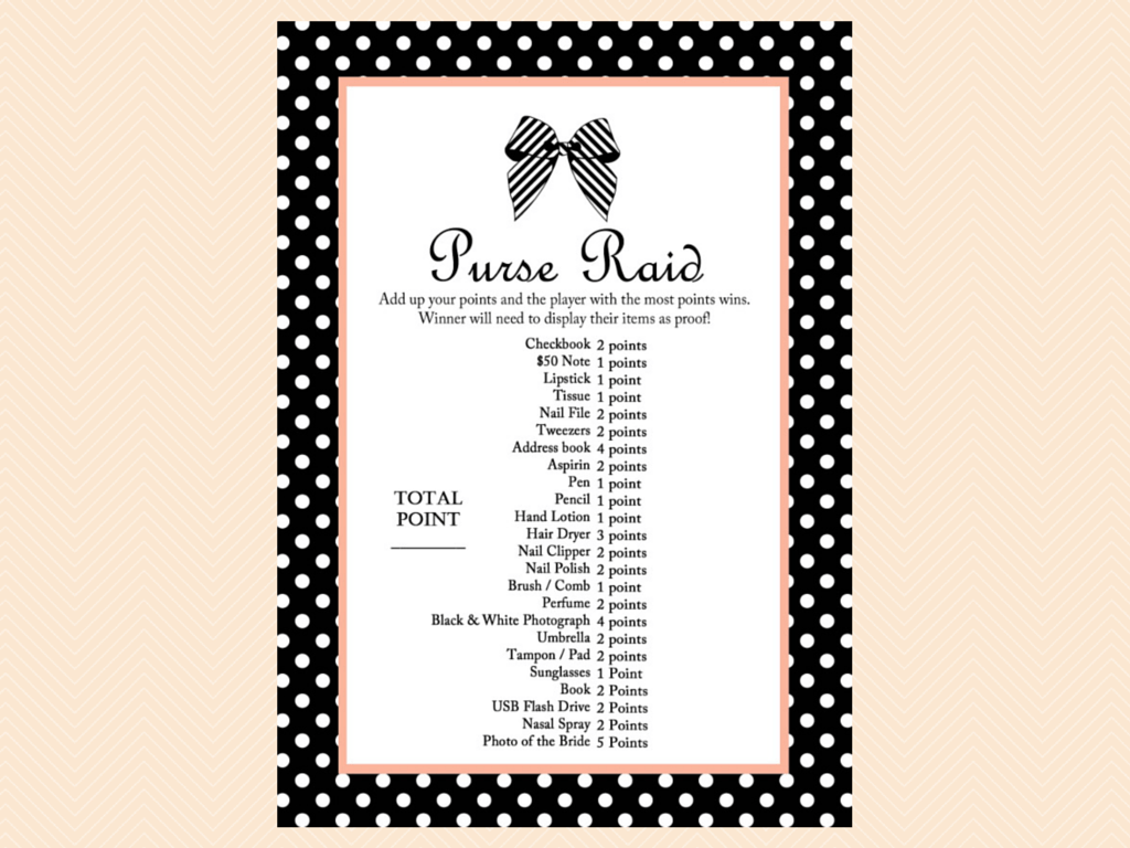 purse raid whats in your purse black and white ribbon bridal shower games printable pack png