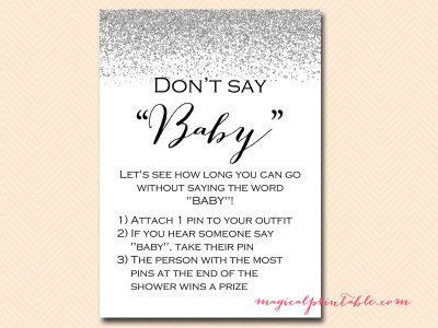 Silver Confetti Baby Shower Game Pack Magical Printable