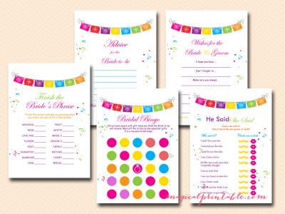 Fiesta Bridal Shower Games Luau  Magical Printable