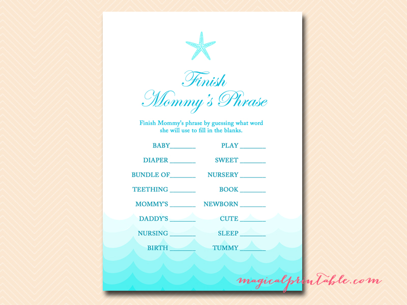 nautical baby shower games printable finish mommys phrase