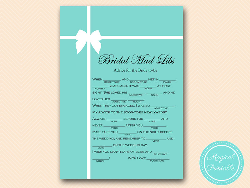 bridal mad libs tiffany theme bridal shower games pack