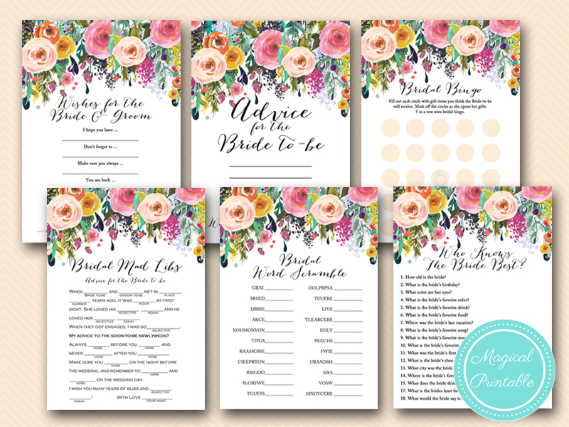 Floral Shabby Chic Garden Bridal Shower Games Magical