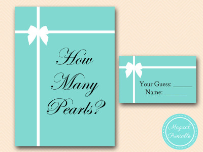 Tiffany Theme Bridal Shower Games Pack Magical Printable