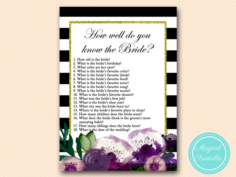 Watercolor Purple Floral, Bridal Shower Games