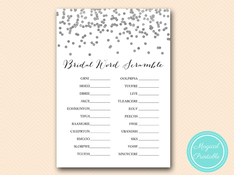 Silver Foil Confetti Bridal Shower Games Pack Magical Printable