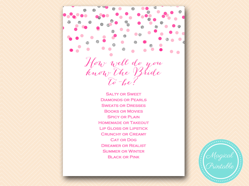 Pink And Silver Bridal Shower Game Printable