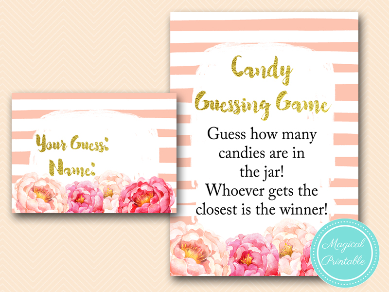 Peach Peonies Baby Shower Games Pack Magical Printable