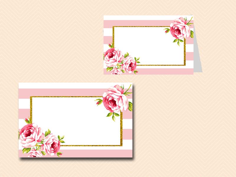 Pink Stripes and Floral Printable Signs - Wedding, Bridal ...