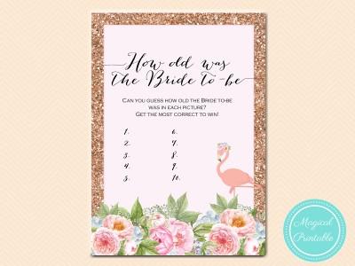 Rose Gold Flamingo Bridal Shower Games Magical Printable