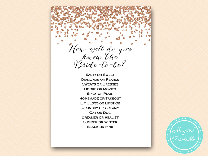 photograph relating to How Well Do You Know the Bride Printable titled BS155 Archives - Magical Printable