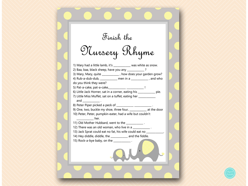 Yellow Elephant Baby Shower Games Magical Printable