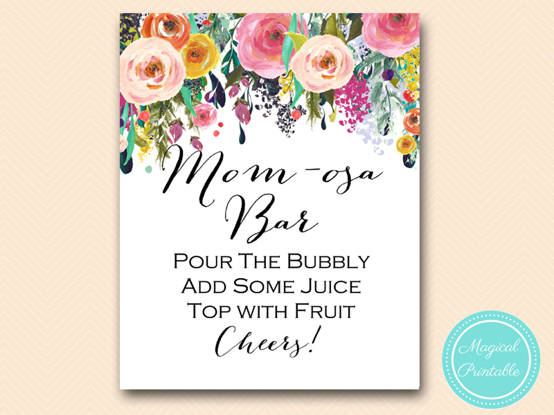 graphic regarding Mimosa Bar Sign Printable named Momosa Little one Shower Mimosa Bar Signal - Magical Printable