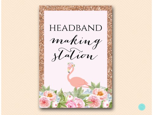 Flamingo Headband Station Sign Magical Printable