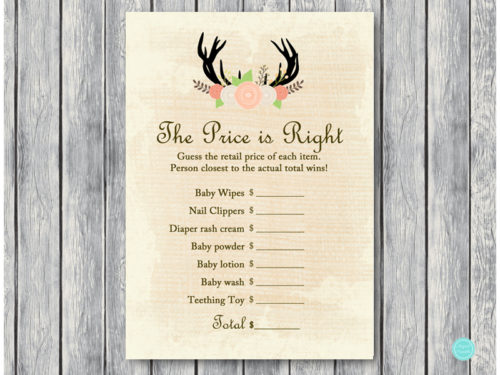 Rustic Antlers Baby Shower Game Pack Magical Printable