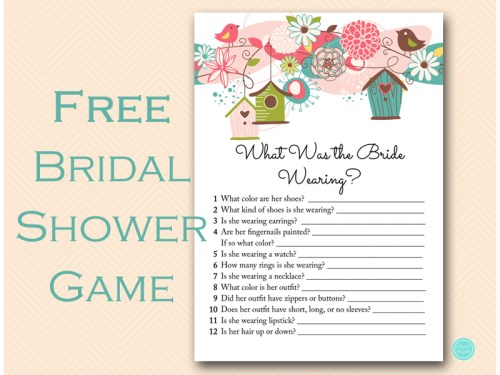 free what is bride wearing game bridal shower