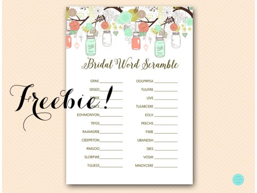 free mint and coral mason jars bridal word scramble game