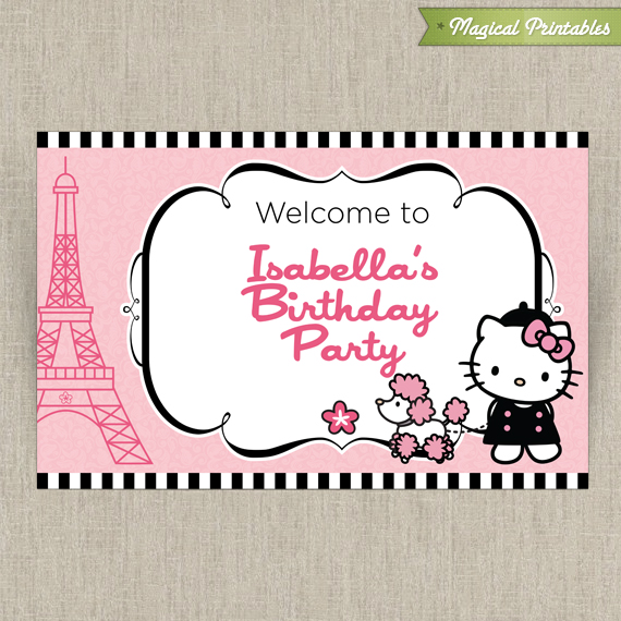 Hello Kitty With French Poodle Paris Welcome Sign