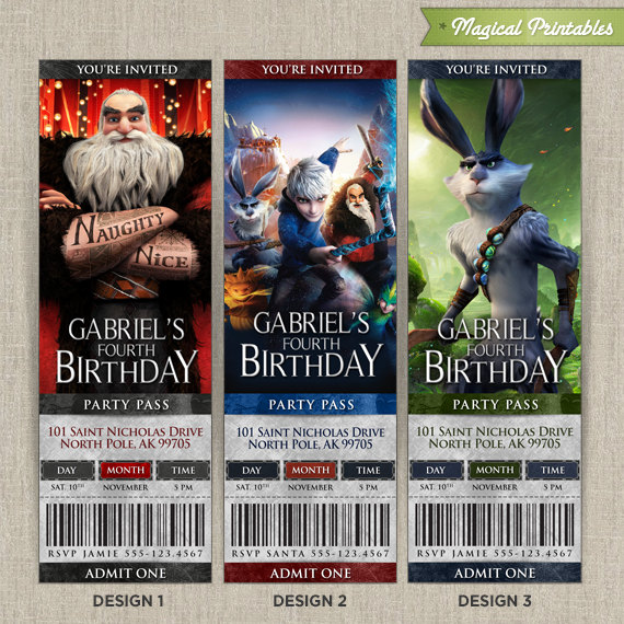 Personalized Rise Of The Guardians Birthday Ticket