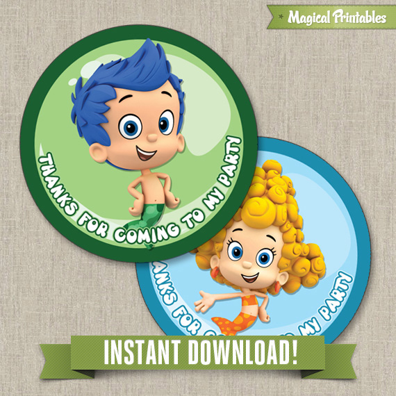 Bubble Guppies Printable Birthday Favor Tag Labels