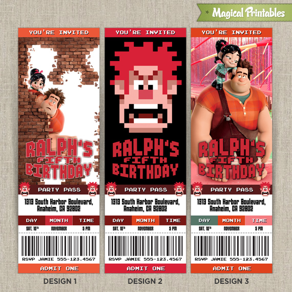 Personalized Disney Wreck It Ralph Birthday Ticket