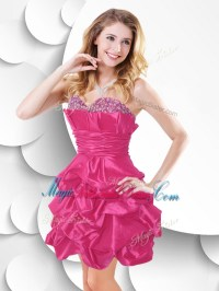 Fashionable Hot Pink Taffeta Bridesmaid Dress with Beading ...