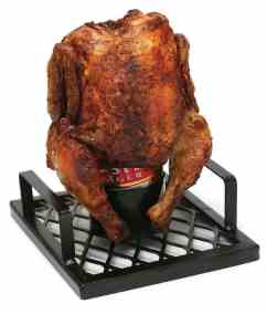 BBQ Beer Can Chicken Roaster with Chicken