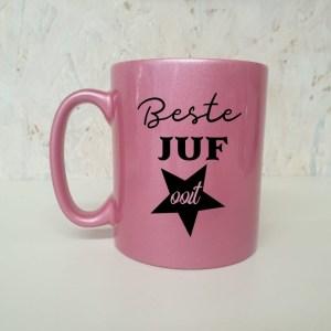 Beste juf ooit metallic roze