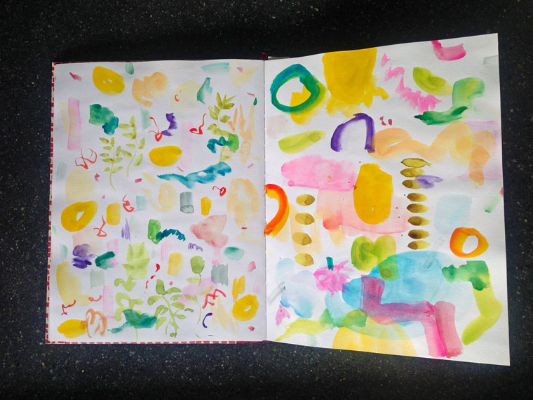 "watercolor-Today you get a little peek into my art sketch book. I keep it for testing colours, it is my ""Gymnastic book for coloring""."