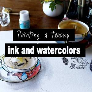 drawing with ink, drawing a teacup