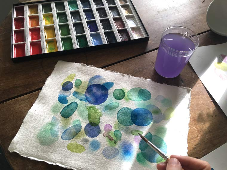 The salt technique. Watercolors are most often painted in many translucent layers that overlap each to create vibrancy. For example, comparing watercolor to oil painting, the translucent layerings are the quality of watercolor. In watercolor one of the most important principles is that you let the paint dry before applying the next layer of paint.
