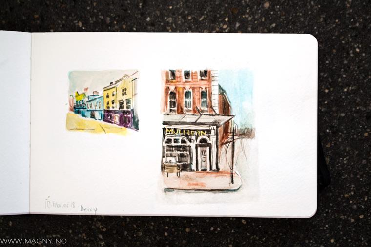 Dublin Doors painted in Watercolor, filt pen drawing