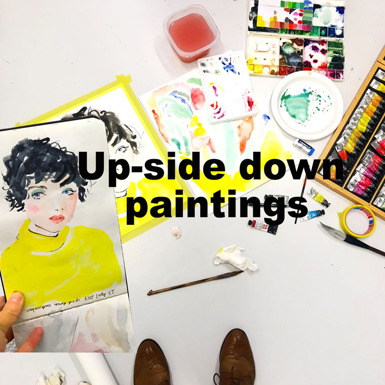 Kunst Sandnes Kunstforening. upside down painting. #Watercolor. Workin progress