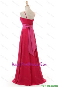 Most Popular Spaghetti Straps Long Red Prom Dress for 2016