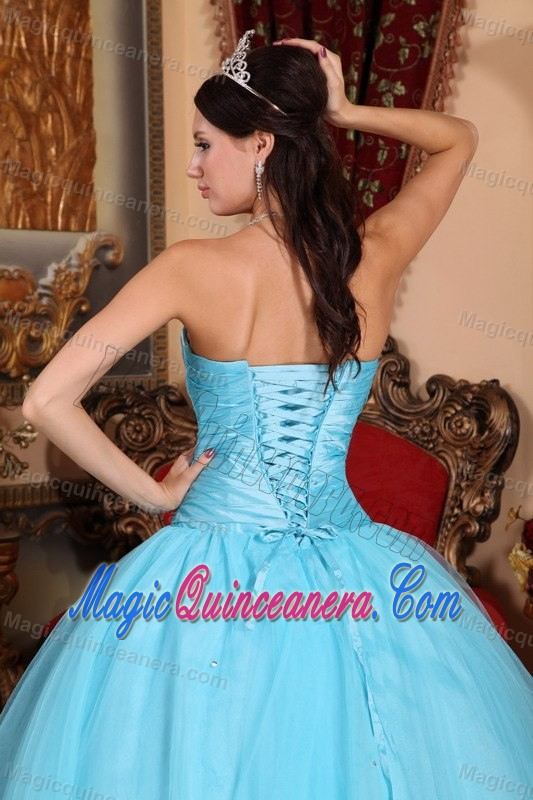 Baby Blue Tulle Beaded Sweet 15 Dresses with Appliques in