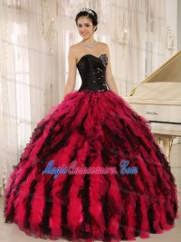 Black and Red Ball Gown Sweetheart Sweet 15 Dresses with ...